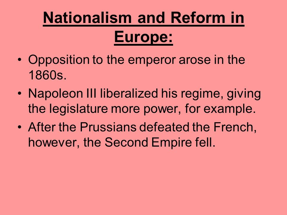Nationalism and Reform in Europe: