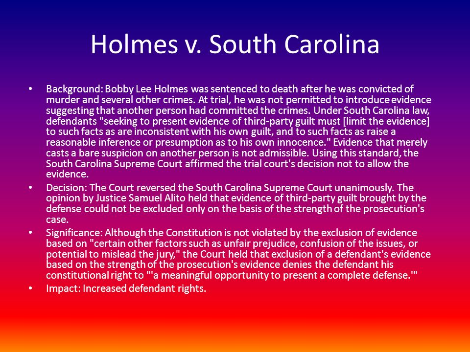 Talk:Holmes v. South Carolina