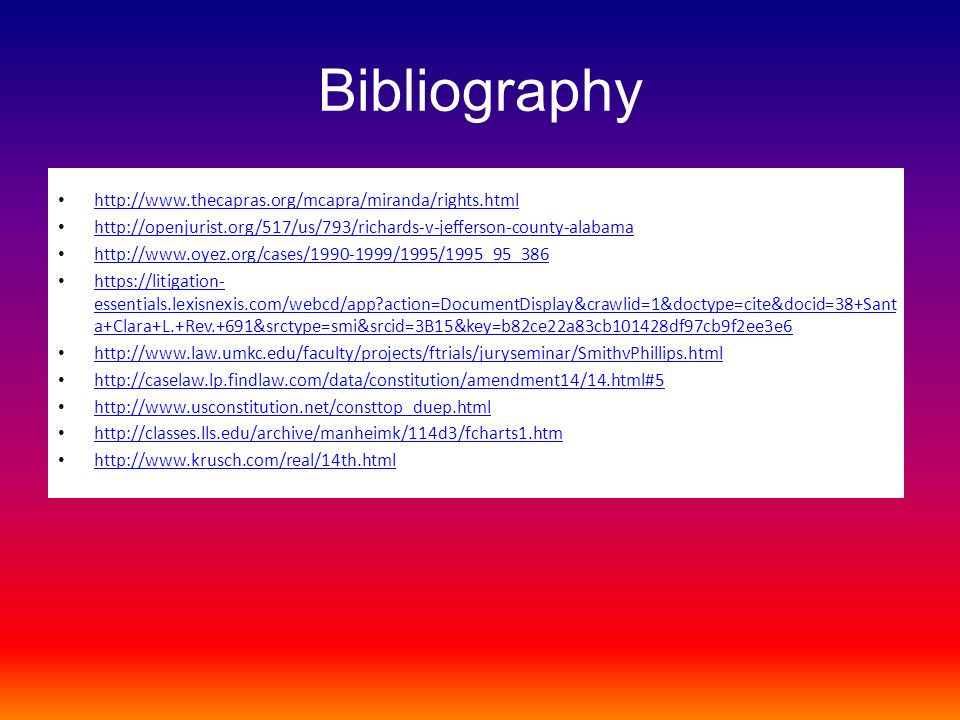 Bibliography http://www.thecapras.org/mcapra/miranda/rights.html