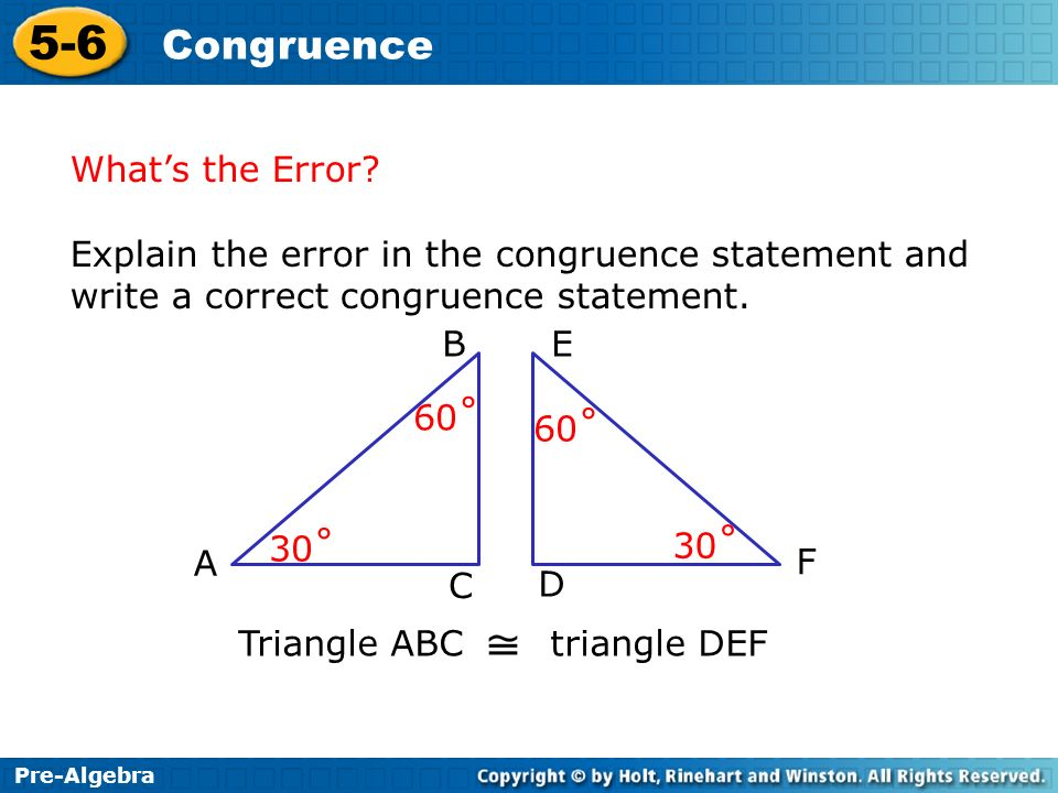 What's the Error Explain the error in the congruence statement and write a correct congruence statement.