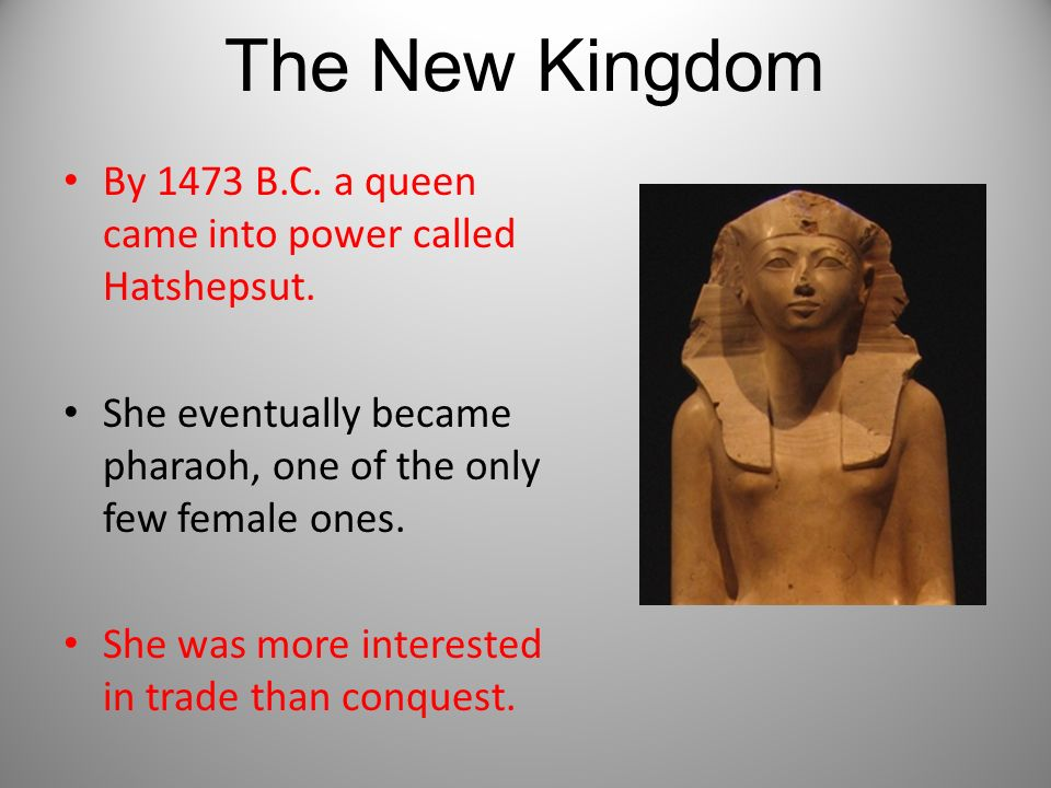 The New Kingdom By 1473 B.C. a queen came into power called Hatshepsut. She eventually became pharaoh, one of the only few female ones.