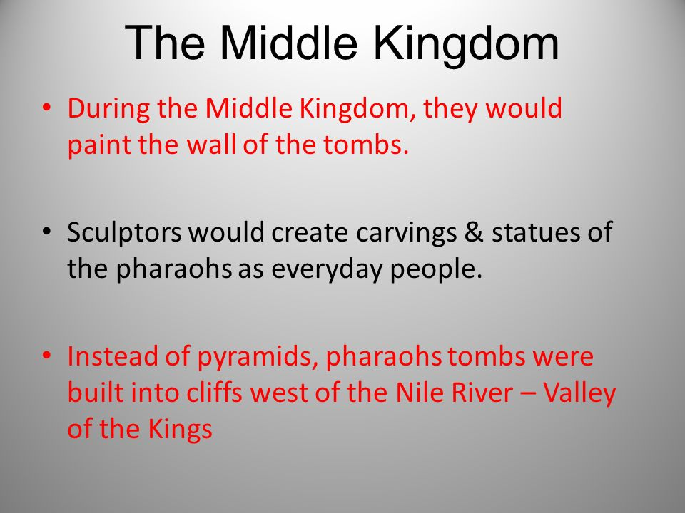 The Middle Kingdom During the Middle Kingdom, they would paint the wall of the tombs.