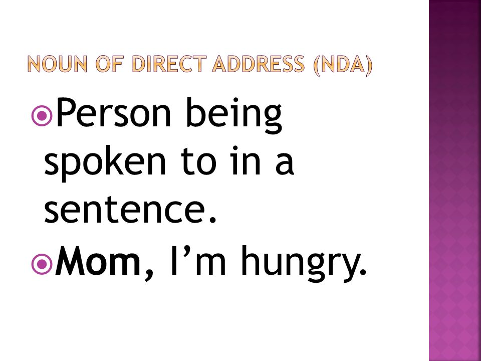Noun of direct address (nda)