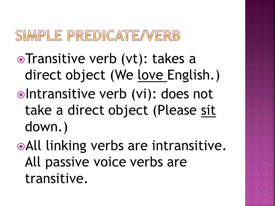 Simple predicate/verb