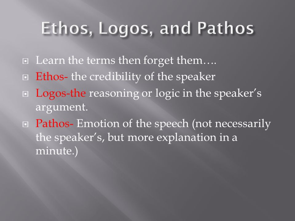 Ethos, Logos, and Pathos Learn the terms then forget them….