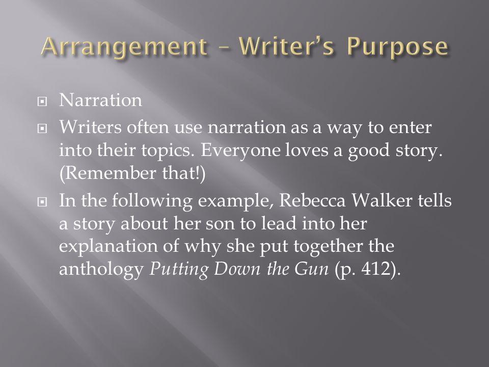 Arrangement – Writer's Purpose