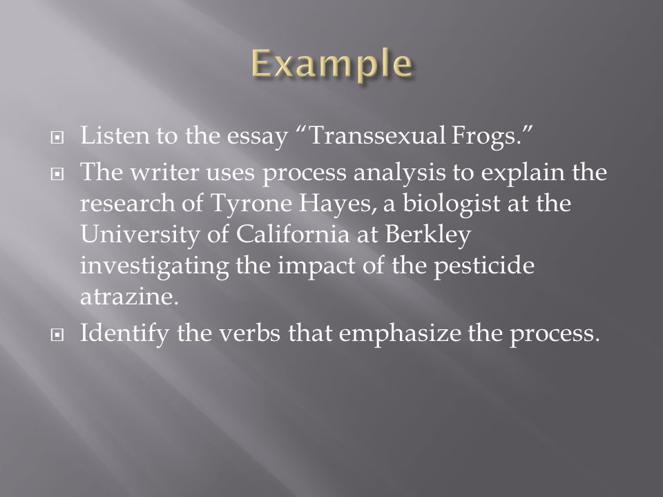 Example Listen to the essay Transsexual Frogs.