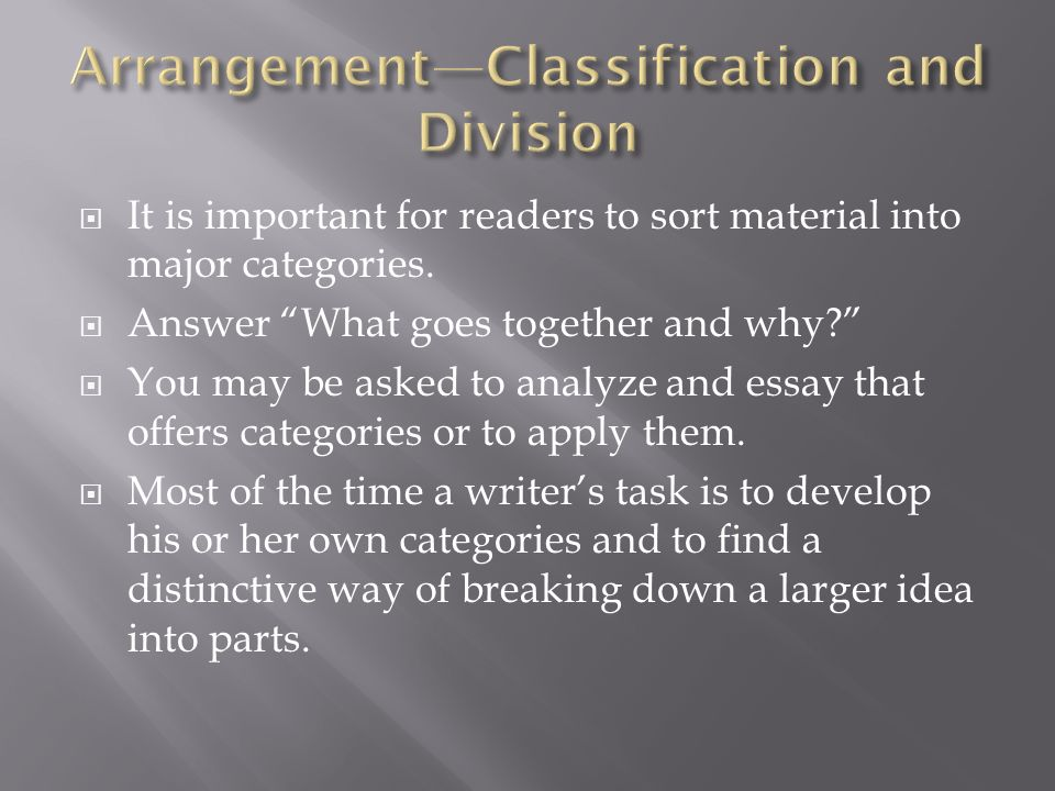 Arrangement—Classification and Division