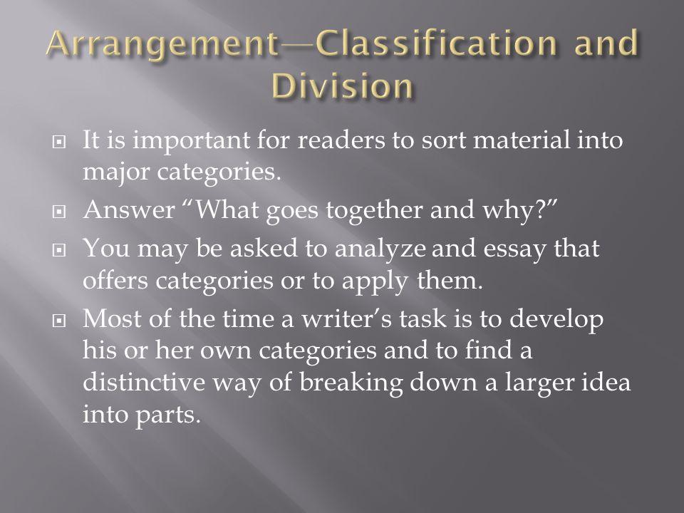 Arrangement—Classification and Division