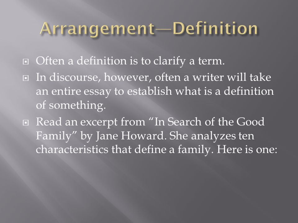 Arrangement—Definition
