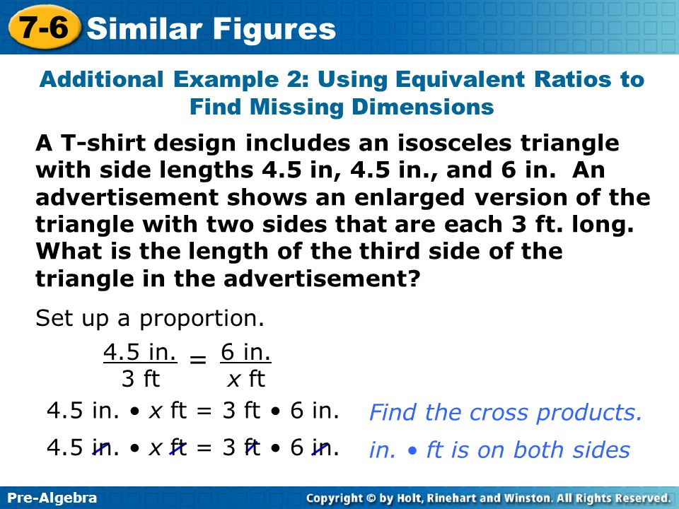 Additional Example 2: Using Equivalent Ratios to Find Missing Dimensions