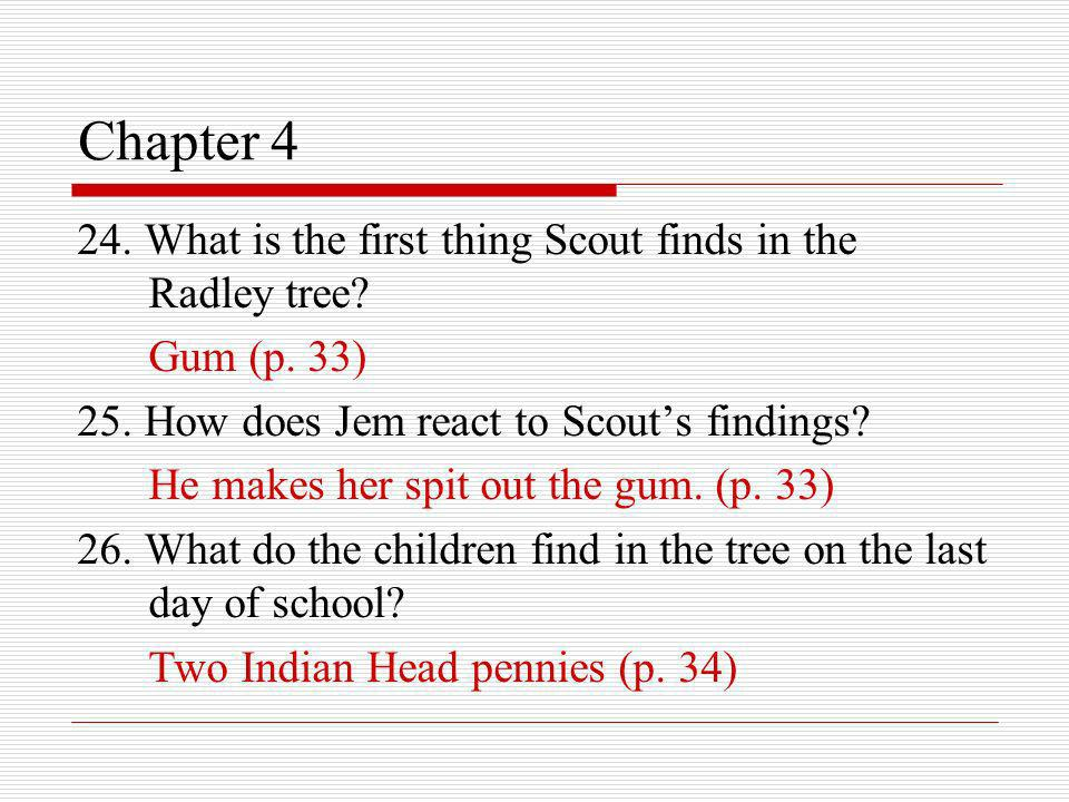 Chapter 4 24. What is the first thing Scout finds in the Radley tree