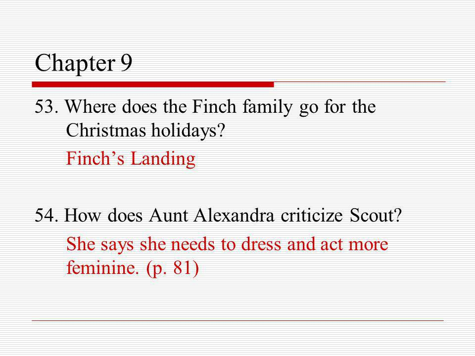 Chapter 9 53. Where does the Finch family go for the Christmas holidays Finch's Landing. 54. How does Aunt Alexandra criticize Scout