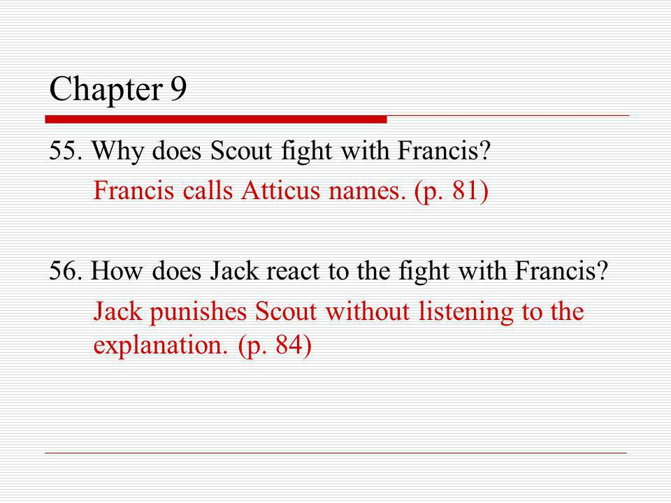 Chapter 9 55. Why does Scout fight with Francis