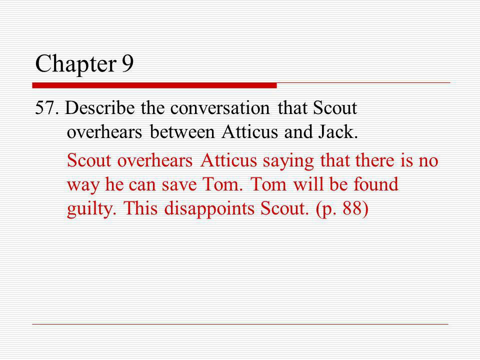 Chapter 9 57. Describe the conversation that Scout overhears between Atticus and Jack.