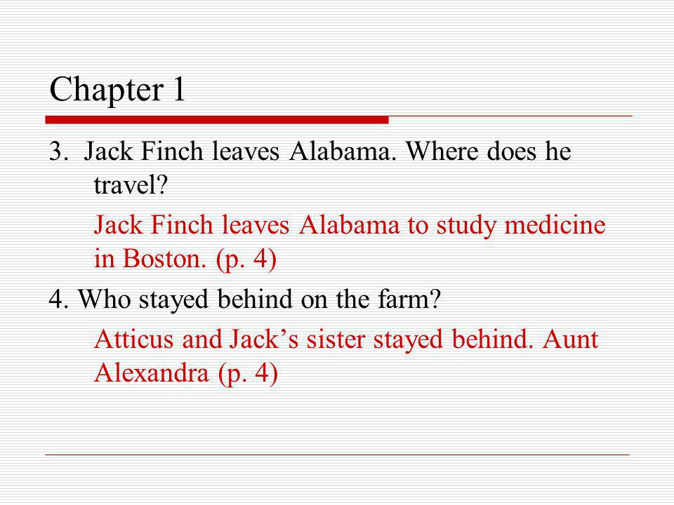 Chapter 1 3. Jack Finch leaves Alabama. Where does he travel