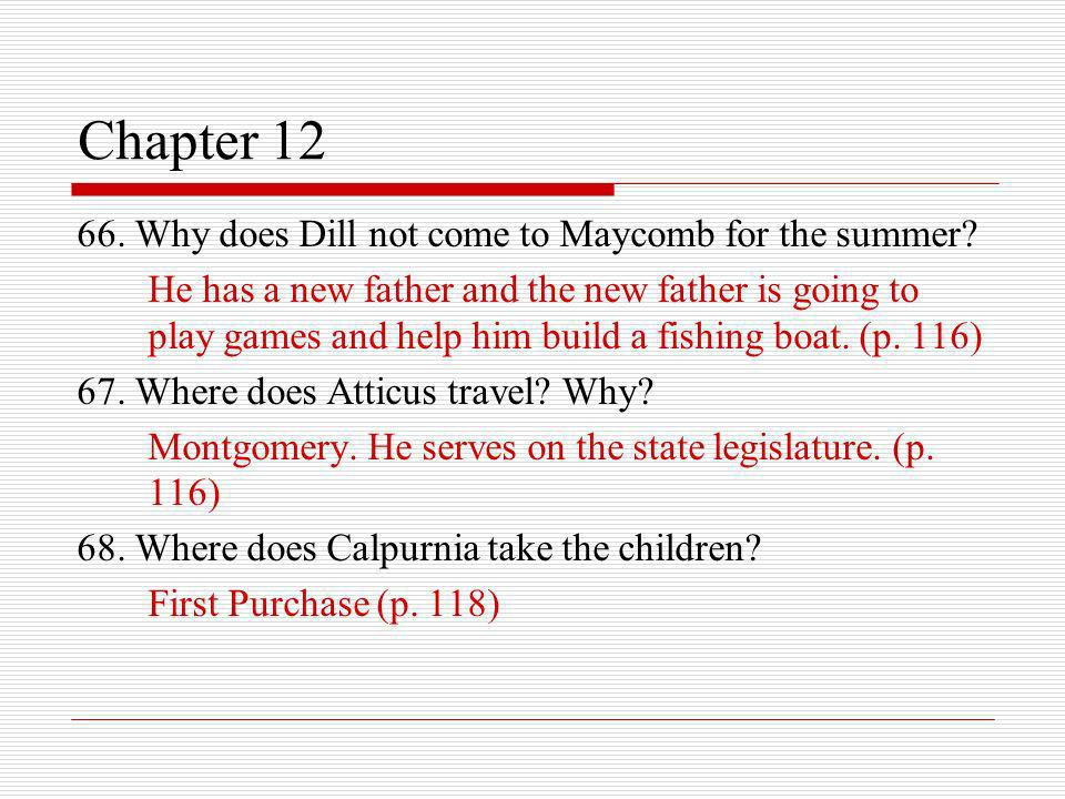 Chapter 12 66. Why does Dill not come to Maycomb for the summer