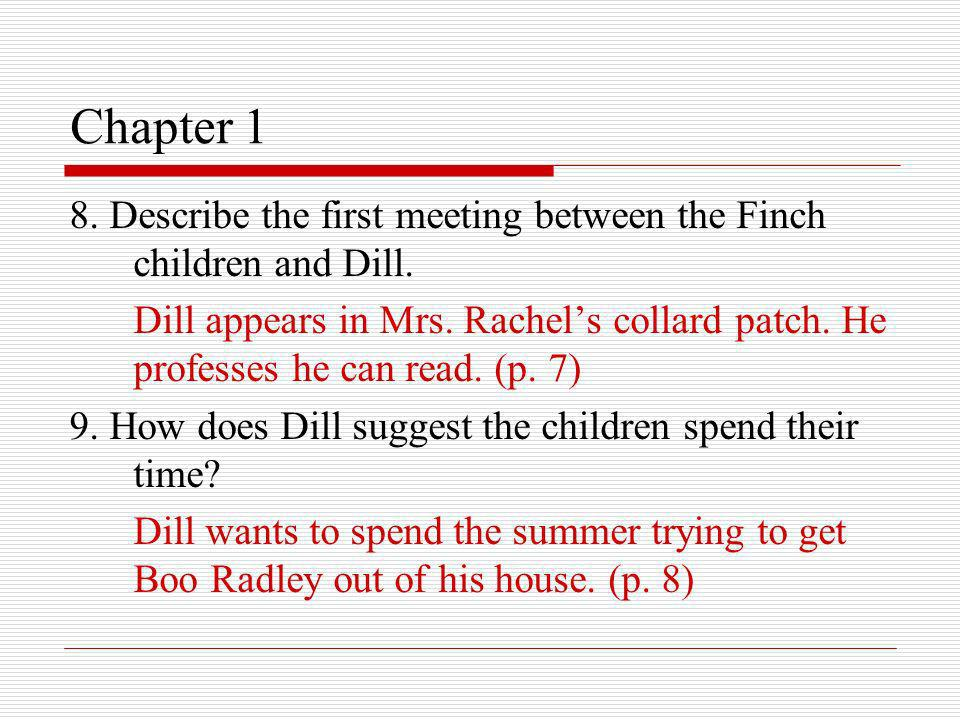 Chapter 1 8. Describe the first meeting between the Finch children and Dill.