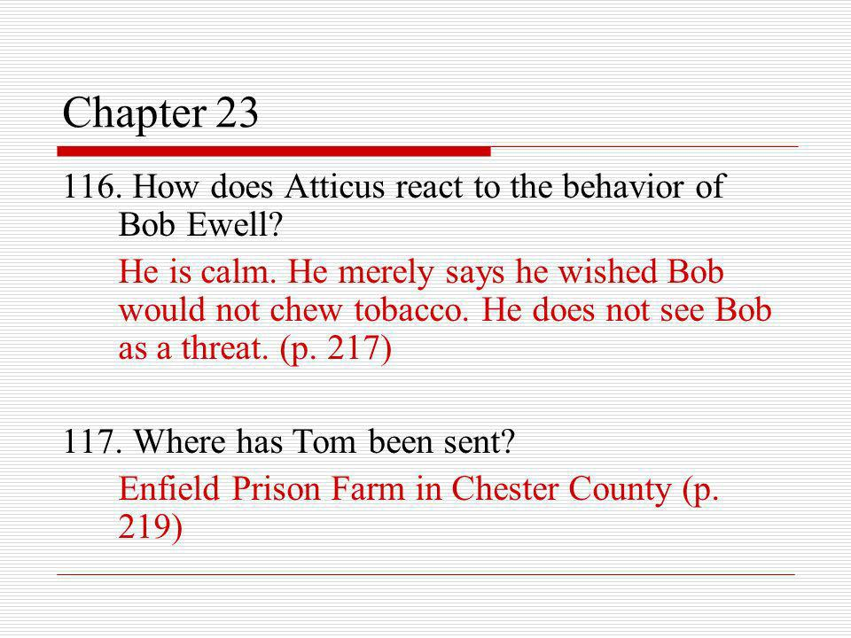 Chapter 23 116. How does Atticus react to the behavior of Bob Ewell