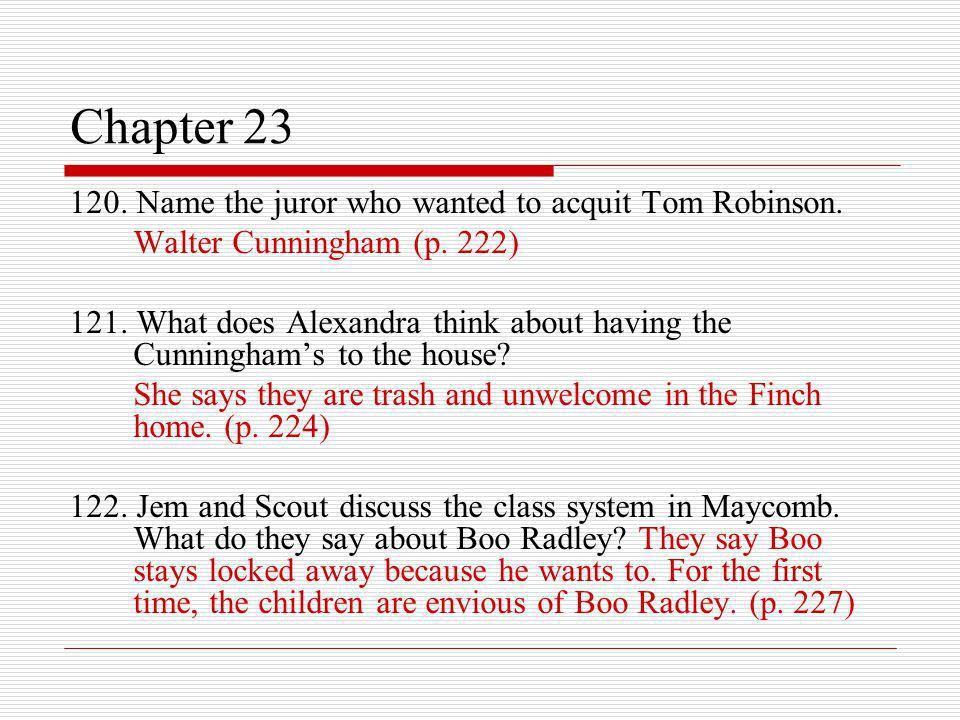 Chapter 23 120. Name the juror who wanted to acquit Tom Robinson.