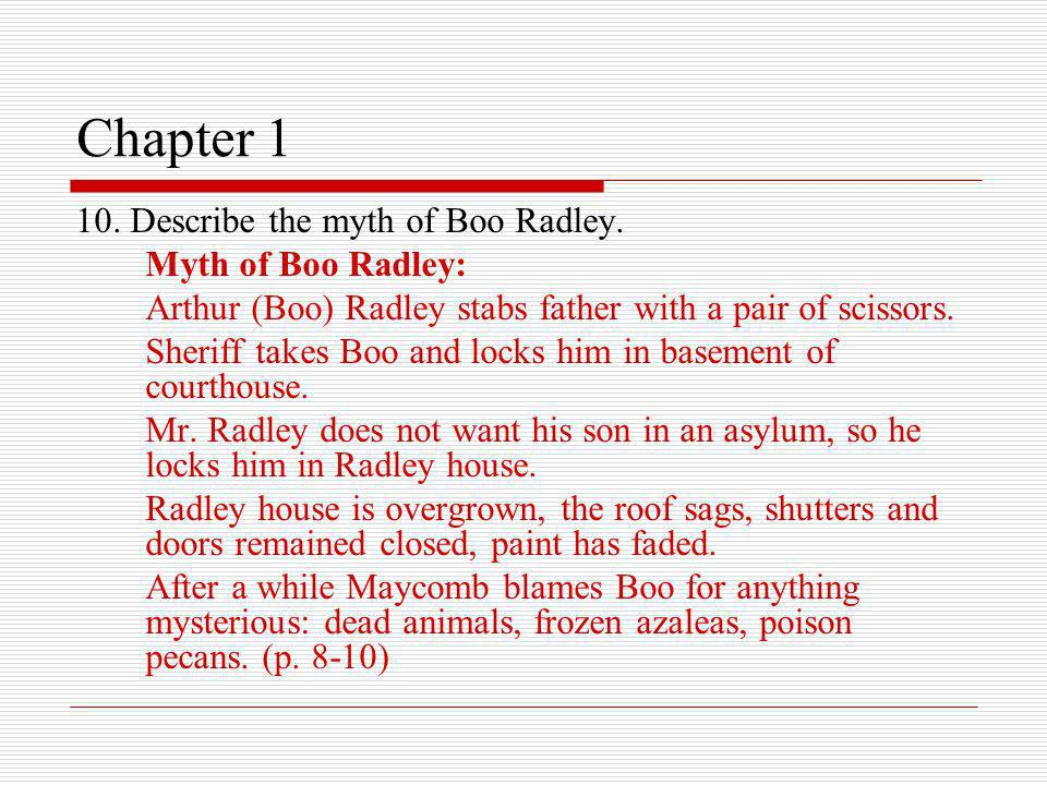 Chapter 1 10. Describe the myth of Boo Radley. Myth of Boo Radley: