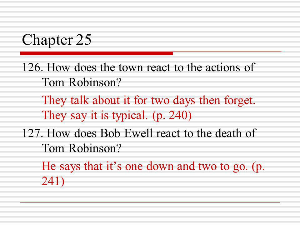 Chapter 25 126. How does the town react to the actions of Tom Robinson