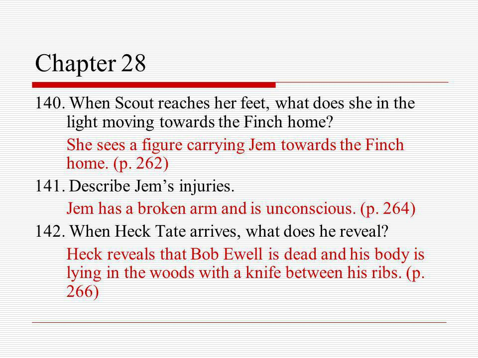Chapter 28 140. When Scout reaches her feet, what does she in the light moving towards the Finch home
