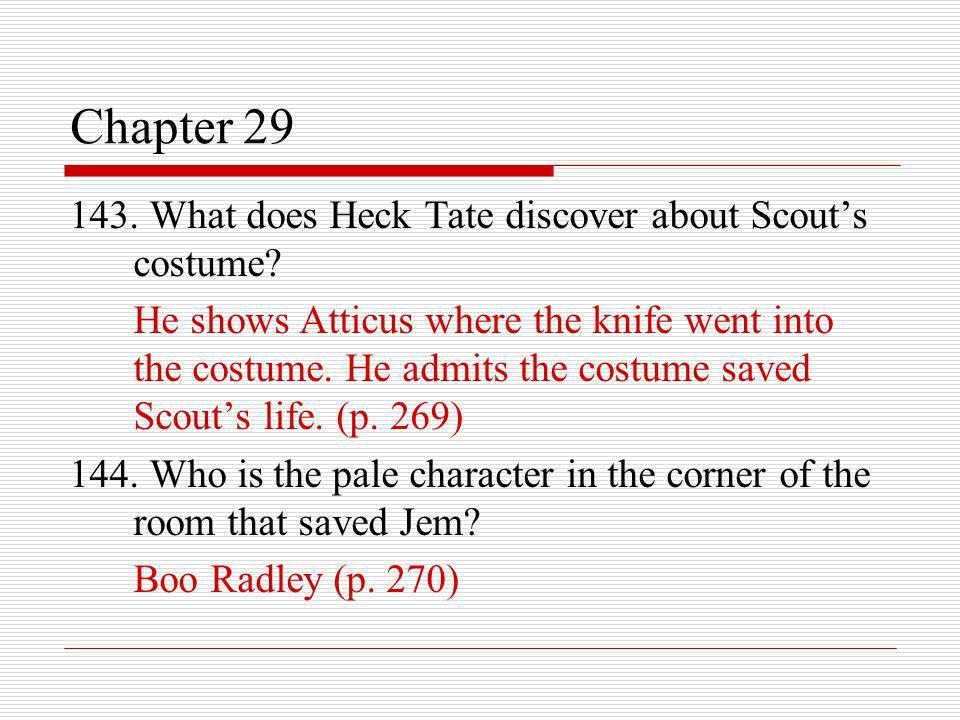 Chapter 29 143. What does Heck Tate discover about Scout's costume