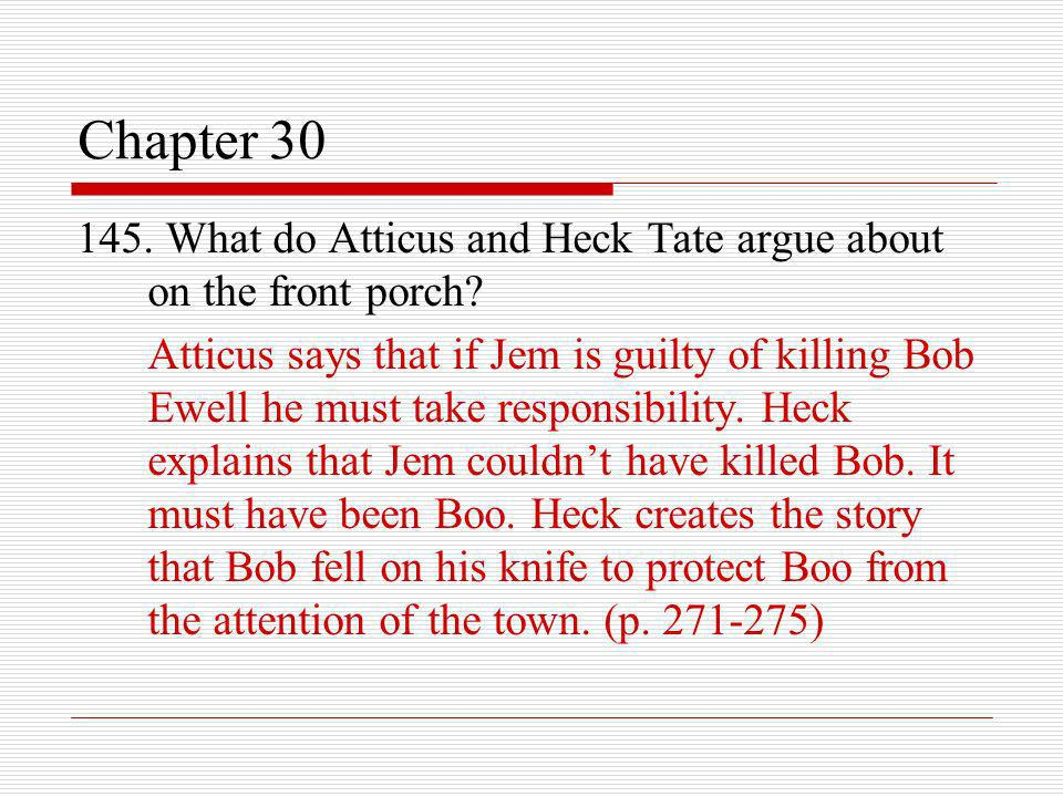 Chapter 30 145. What do Atticus and Heck Tate argue about on the front porch