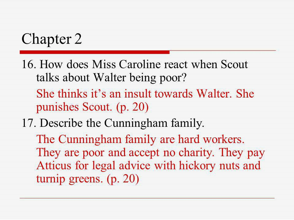 Chapter 2 16. How does Miss Caroline react when Scout talks about Walter being poor