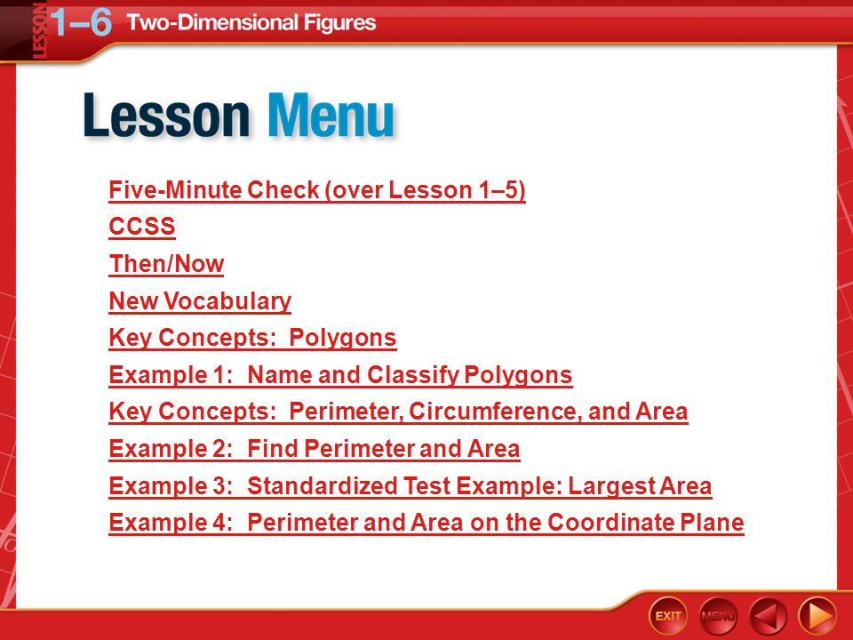 Five-Minute Check (over Lesson 1–5) CCSS Then/Now New Vocabulary