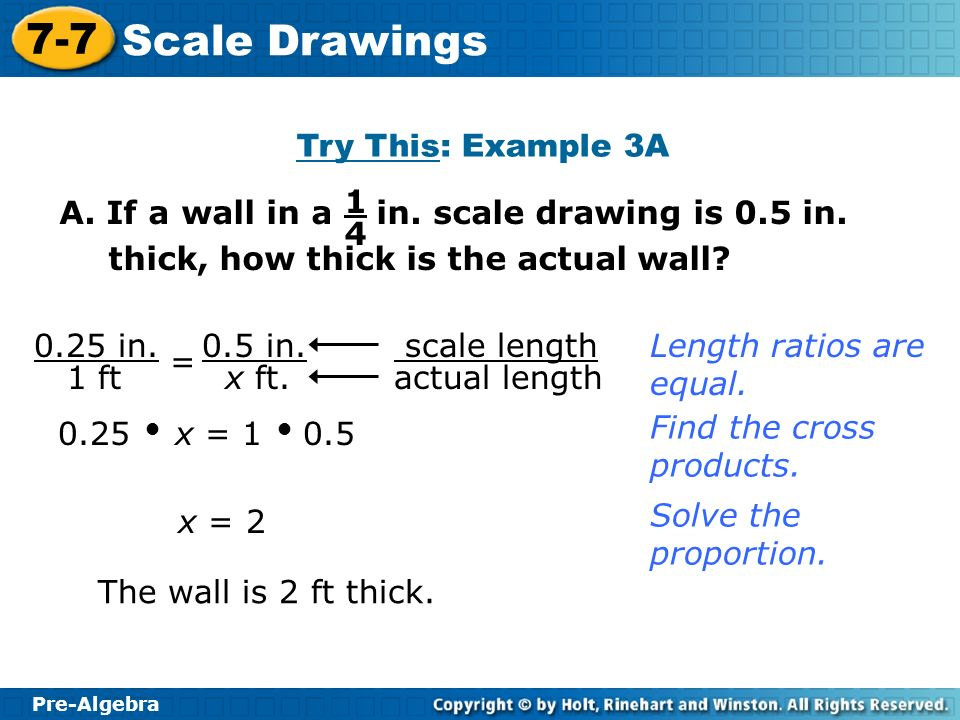 Try This: Example 3A A. If a wall in a in. scale drawing is 0.5 in. thick, how thick is the actual wall