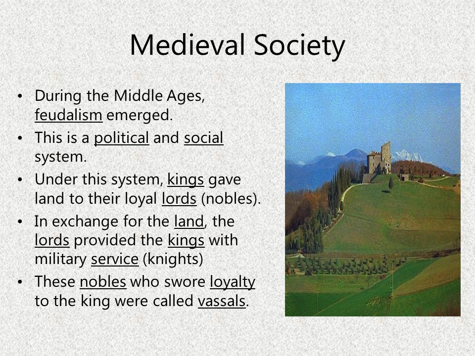 Medieval Society During the Middle Ages, feudalism emerged.