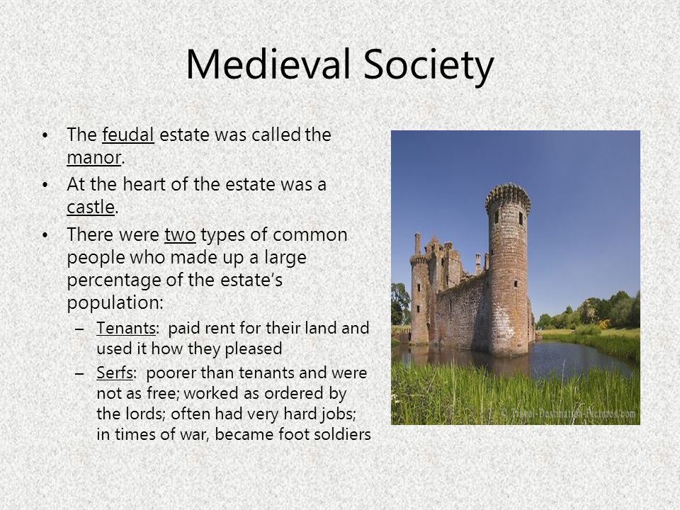 Medieval Society The feudal estate was called the manor.