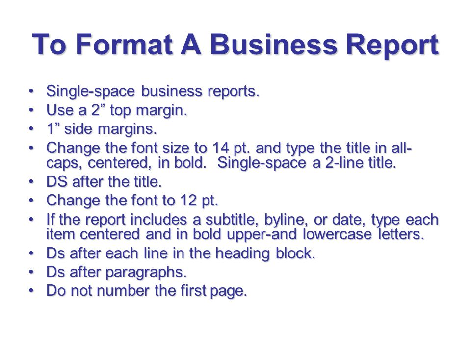 business report side headings