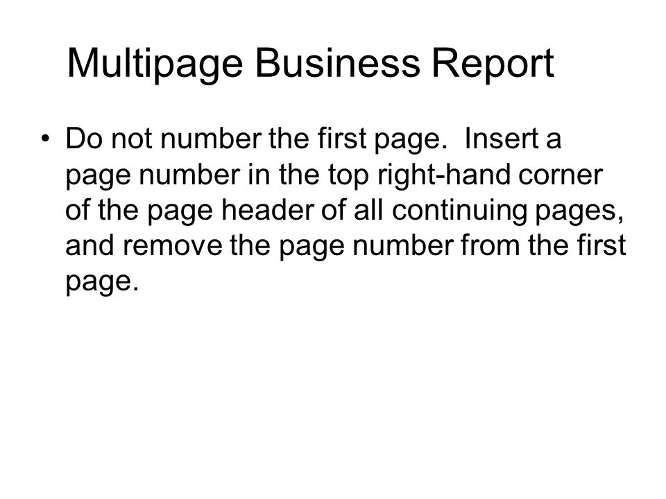 Multipage Business Report