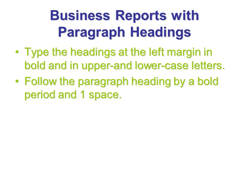 Business Reports with Paragraph Headings