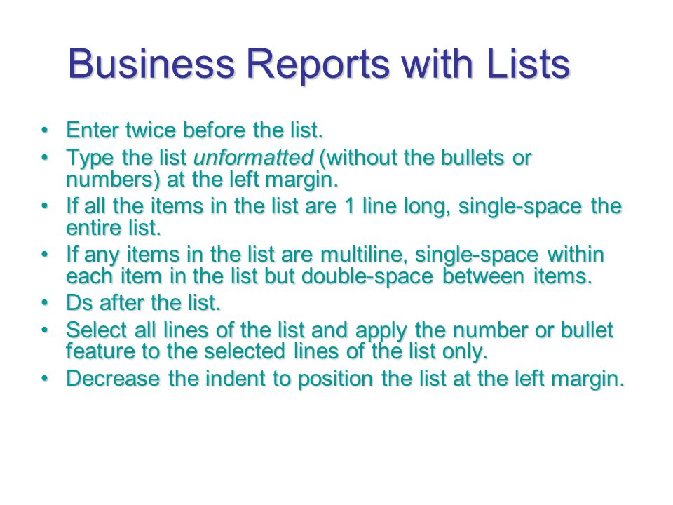 Business Reports with Lists