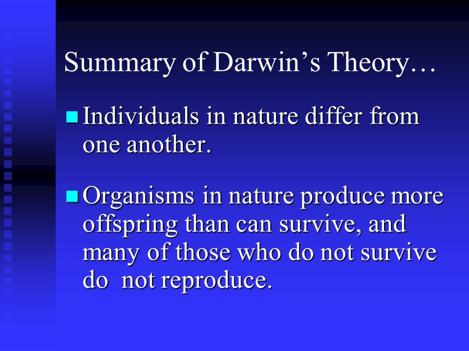 Summary of Darwin's Theory…