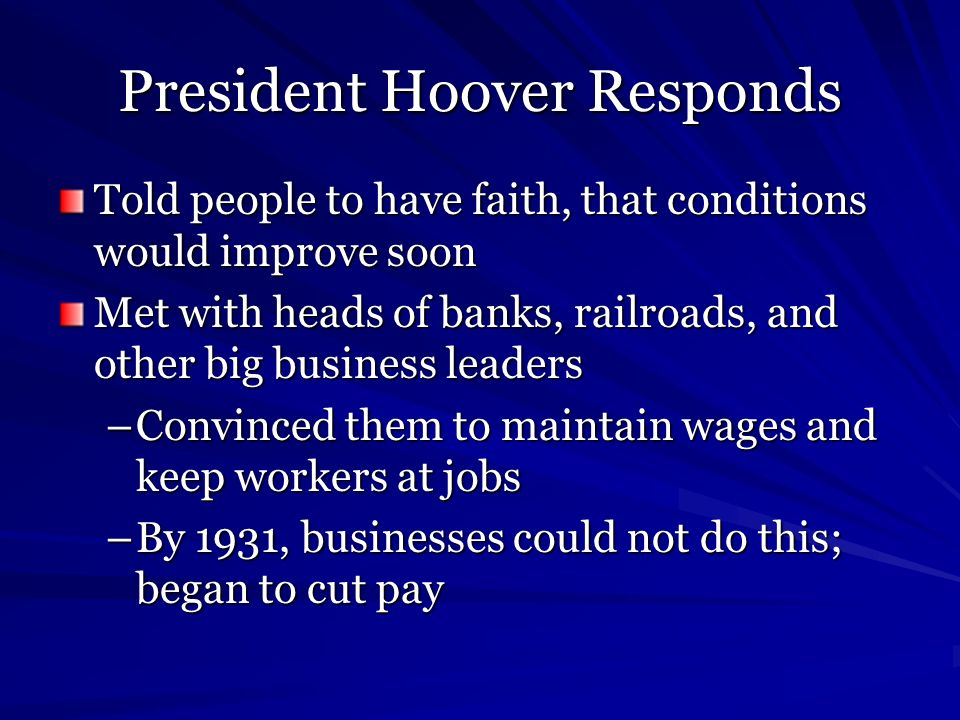President Hoover Responds