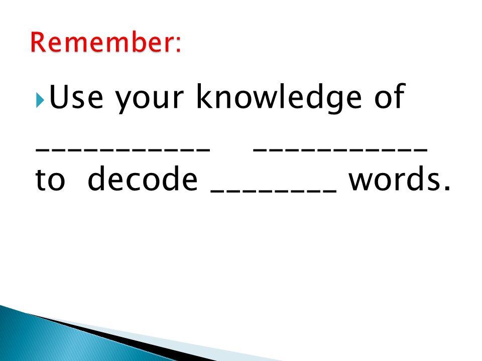 ___________ ___________ to decode ________ words.