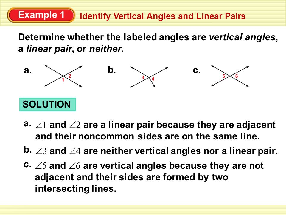 Determine whether the labeled angles are vertical angles,