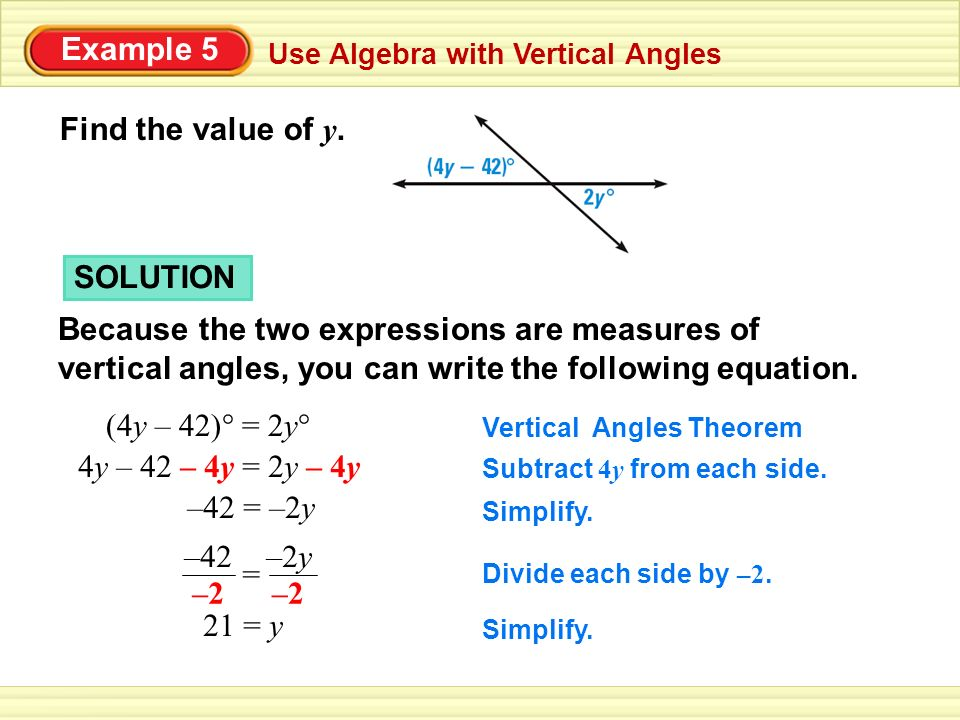 Example 5 Find the value of y. SOLUTION