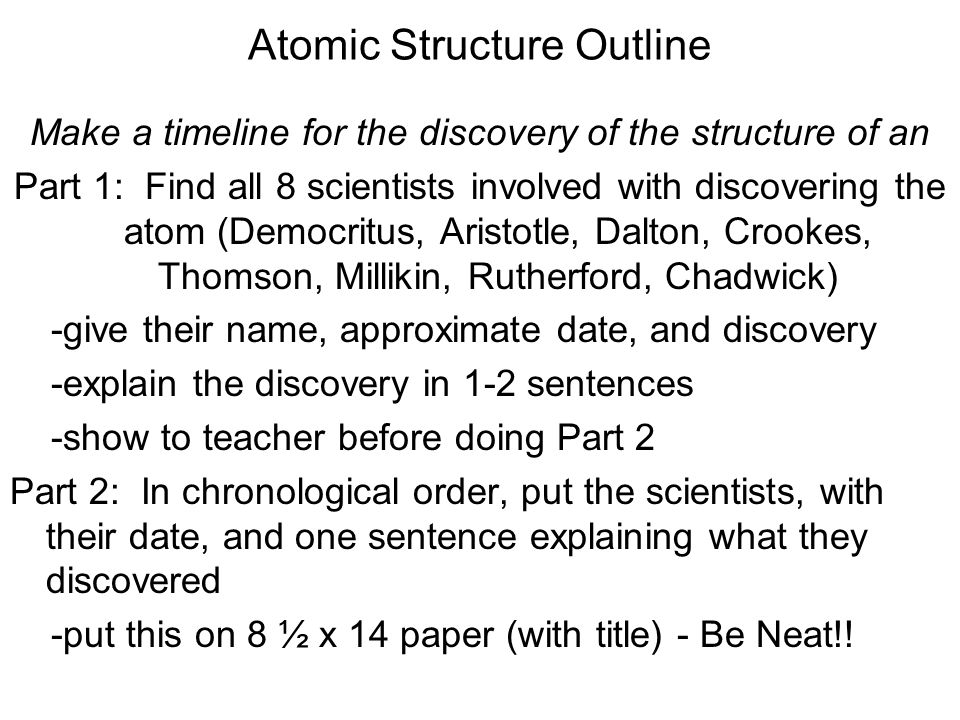 Atomic Structure Outline