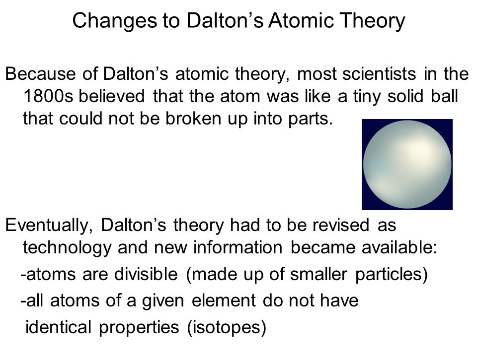 Changes to Dalton's Atomic Theory
