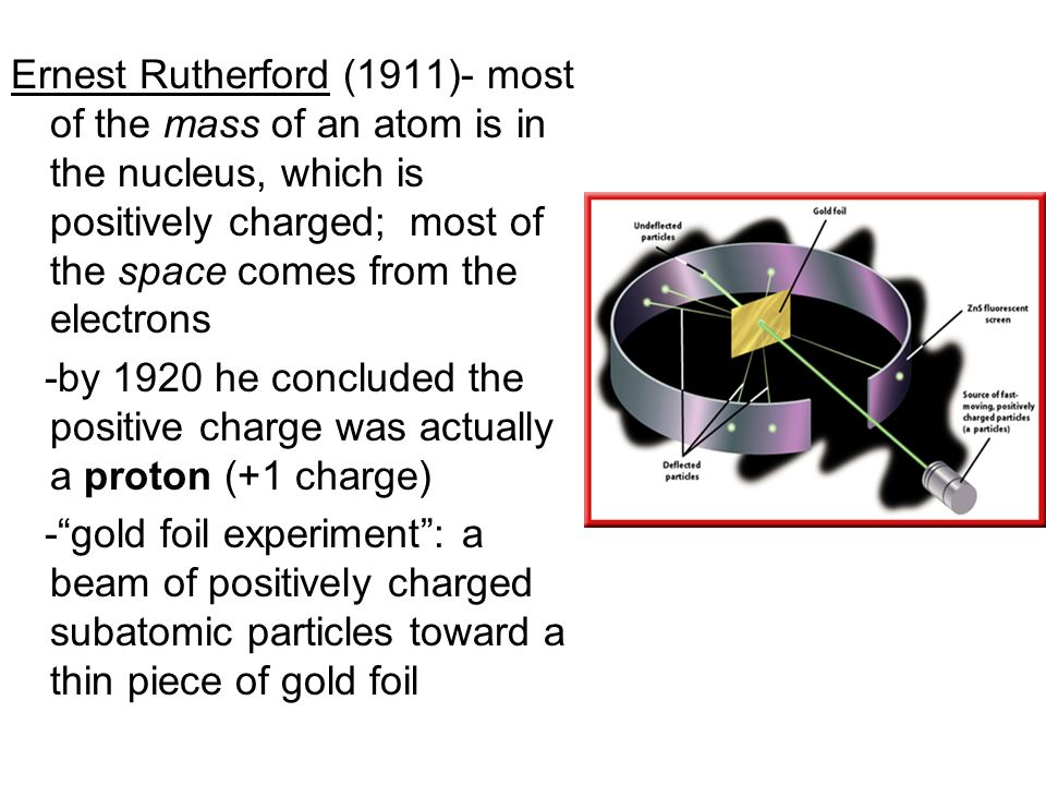 Ernest Rutherford (1911)- most of the mass of an atom is in the nucleus, which is positively charged; most of the space comes from the electrons