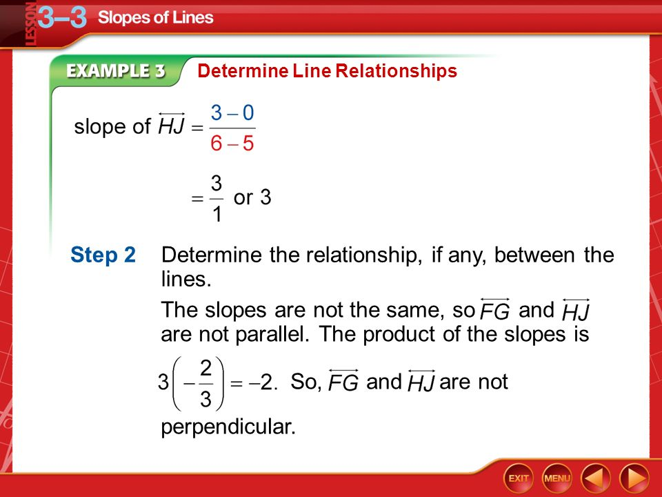 Step 2 Determine the relationship, if any, between the lines.