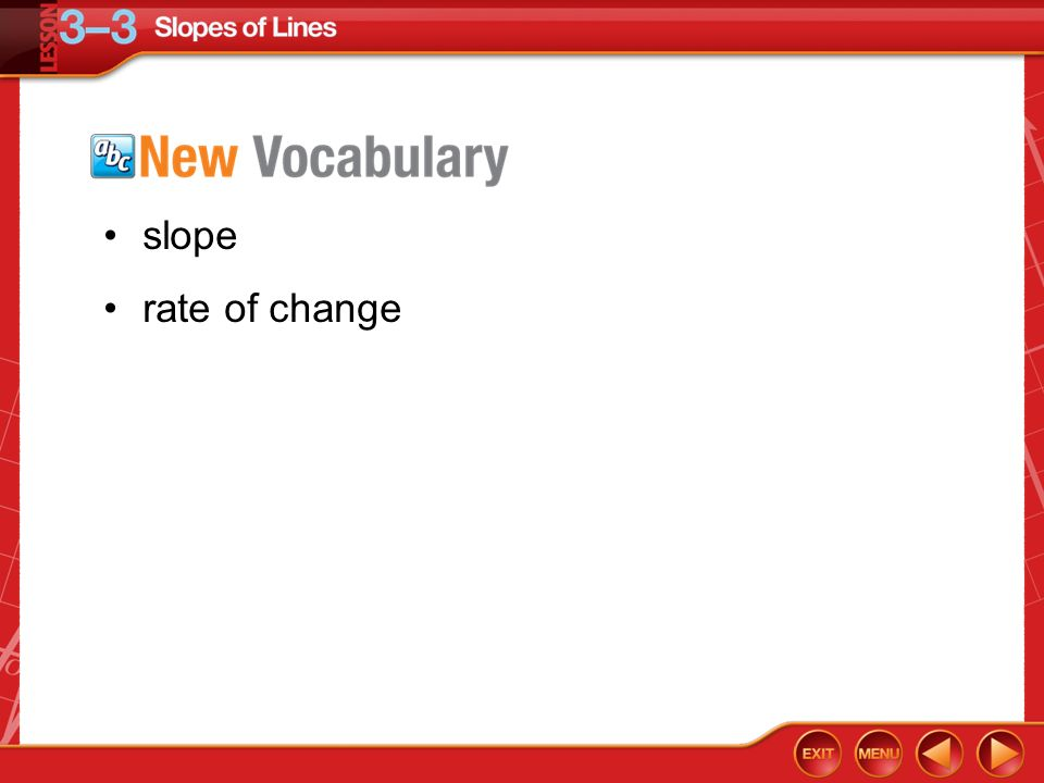 slope rate of change Vocabulary