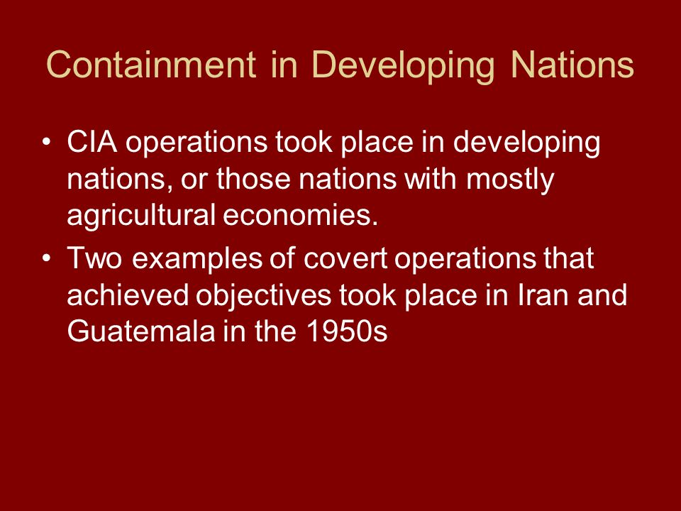 Containment in Developing Nations