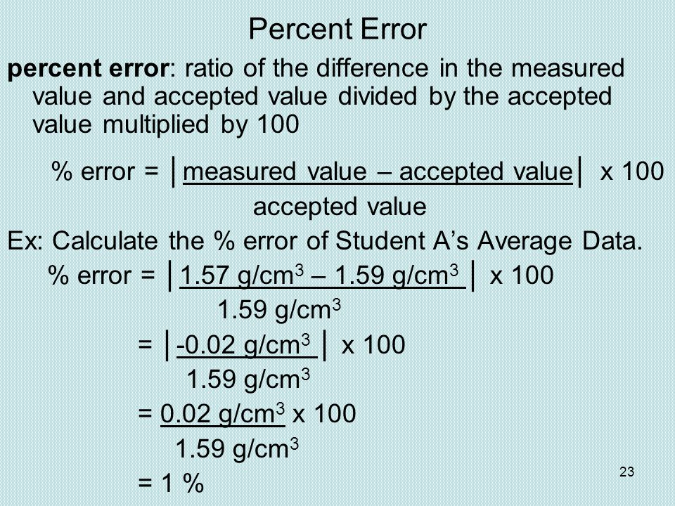 Percent Error percent error: ratio of the difference in the measured value and accepted value divided by the accepted value multiplied by 100.
